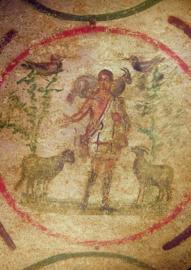 Christus als de goede herder, Catacomben Rome 3e eeuw n.chr.