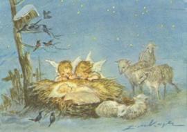 Twee engelen bewonderen het kind in de kribbe, Erica von Kager