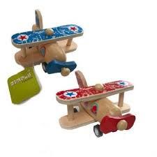 Houten vliegtuigje dubbeldekker, rood, pull back