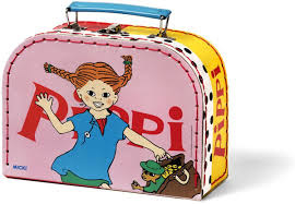 Pipi Langkous koffertje roze (20x15x8 cm)