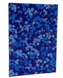 Olino Paperworks, Notebook met een omslag van loktapapier met bloesemprint, Blauw