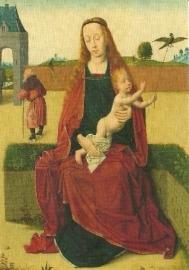 Maria met kind, gezeten op een zodenbank, Dirk Bouts
