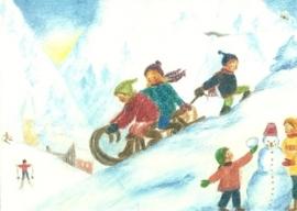 Januari maandkaart, Kinderen met slee, Ilona Bock