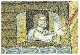 Duif keert terug naar Ark van Noach, mozaïek Venetië 13e eeuw