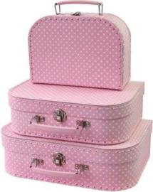 Koffertje  roze met witte stippen (20x14x8)