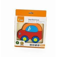 Shape block puzzle Auto ( hout, 18 mnd +)