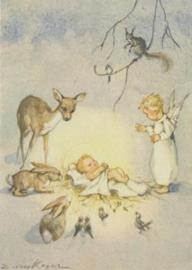 Het kerstkind, omringd door bosdieren en een engel, Erica von Kager