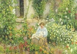 Moeder en kind in de bloemen, Camille Pissarro