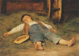 Slapende knaap in het hooi, Albert Anker