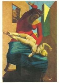 Madonna geeft Jezuskind pak op de billen, Max Ernst