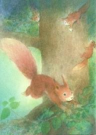 Spelende eekhoorntjes, W. Strüning