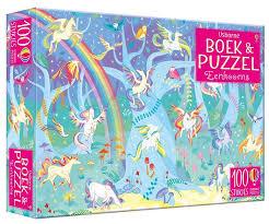 Boek en Puzzel, Eenhoorns ( 100 st, incl boek met zoekplaten)