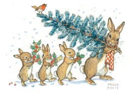 Konijn draagt kerstboom, Molly Brett
