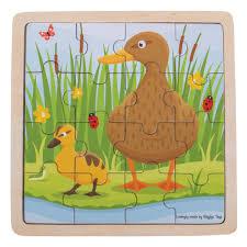 Houten puzzel Eend met kuiken ( 16 st  leeftijd 2+)