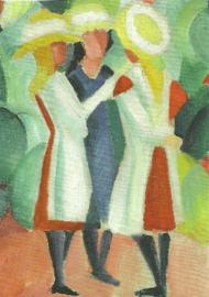Drie meisjes met gele strohoeden, August Macke