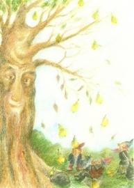 Oktober, dwergen onder boom, maandkaart Ilona Bock