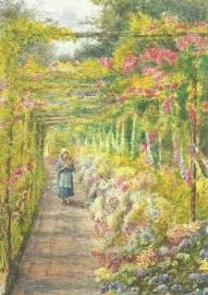 Jong meisje onder rozenpergola, Engelse school