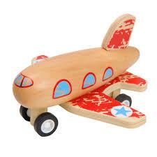 Houten vliegtuigje , pull back, rood
