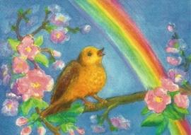 Vogel op boom met regenboog, Dorothea Schmidt