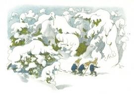 Dwergen in sneeuw, Ernst Kreidolf