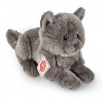 Kat grijs liggend (20 cm)