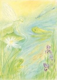 Nimf en kikkers in vijver, Marjan van Zeyl