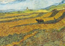 Akker met ploegende boer en molen, Vincent van Gogh