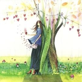 Vrouw leunt tegen boom aan, Kristiana Heinemann