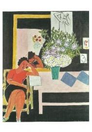 Lezende vrouw voor een zwarte achtergrond, Henri Matisse