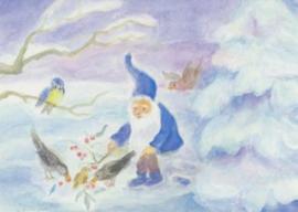 Dwerg voert vogels in de sneeuw, Dorothea Schmidt