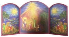 Drieluik heilige familie met de Drie Koningen