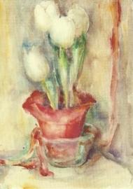 Witte tulpen in rode pot, M.I. Hummel