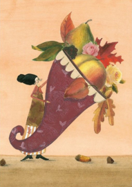 Met fruit en herfstbladeren gevulde hoorn, Silke Leffler