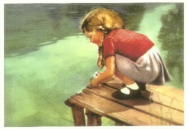 Meisje op rand steiger, Mieke Plaizier