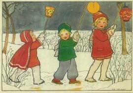 Drie kinderen met lampionnen, Rie Cramer