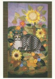 Oktober zonnebloemen met gestreepte kat, Diana M. Khan