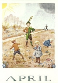 April, maandkaart Elsa Beskow