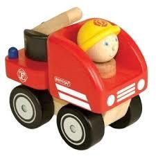 Stevige compacte houten auto, brandweerwagen  ( af.m 10x6x9 cm)