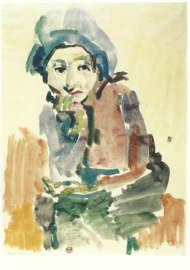 Zittend meisje (Gitta Wallerstein?), Oskar Kokoschka
