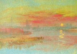 Stad aan de rivier, zonsondergang, J.M.W. Turner
