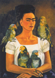 Zelfportret: ik en mijn papegaaien, Frida Kahlo