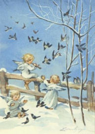 Drie engelen musiceren met de vogels, Erica von Kager