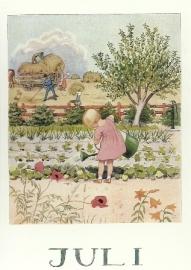 Juli, maandkaart Elsa Beskow