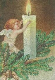 Engel met kaars, metallic kaart