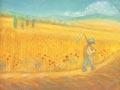 Augustus, Korenveld met boer, maandkaart Ruth Elsässer