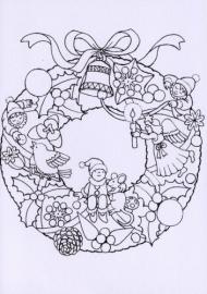 Kleurkaart Kersttijd, dubbele kaart met envelop om te kleuren!