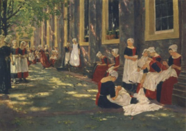 De hof in Amsterdams weeshuis, Max Liebermann