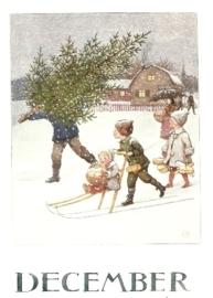 December, maandkaart Elsa Beskow