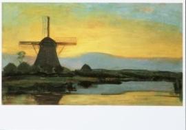 Oostzijdse molen bij avond, Piet Mondriaan