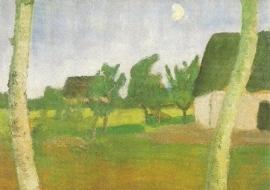 Huizen, berken en maan, Paula Modersohn-Becker
